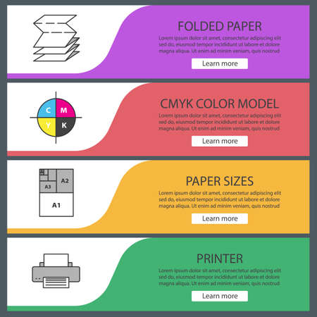 Printing web banner templates set. Polygraphy and typography. Folded paper, cmyk color model, paper sizes, printer. Website color menu items. Vector headers design concepts