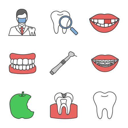 Dentistry color icons set. Stomatology. Dentist, teeth check, denture, missing tooth, dental drill, braces, bitten apple, caries, healthy molar. Isolated vector illustrations