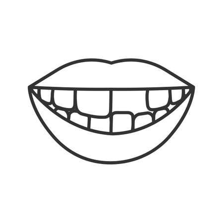 Smile with missing tooth linear icon. Thin line illustration. Contour symbol. Vector isolated drawing