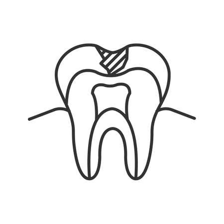 Caries linear icon. Thin line illustration. Sick tooth structure. Contour symbol. Vector isolated drawing