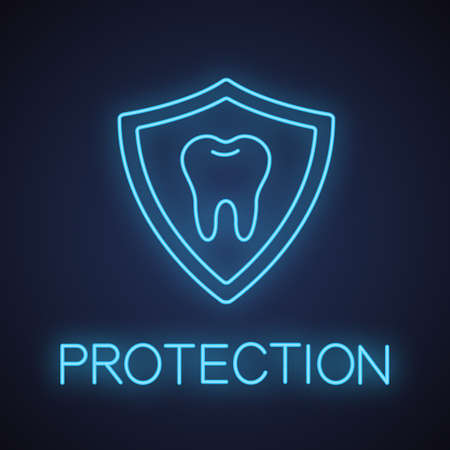 Teeth protection neon light icon. Stomatology glowing sign. Tooth inside shield. Vector isolated illustration