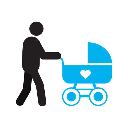 Father with baby carriage silhouette icon. Fatherhood. Isolated vector illustration