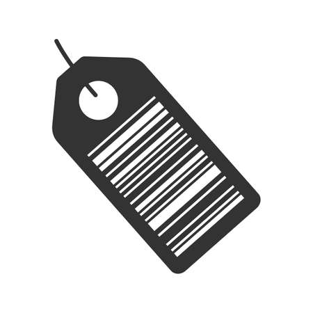 Barcode label glyph icon. Serial number. Silhouette symbol. Negative space. Vector isolated illustration