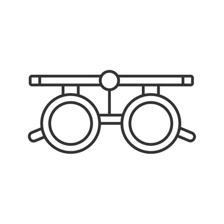 Eye exam glasses linear icon. Thin line illustration. Optometry. Visual acuity testing. Contour symbol. Vector isolated outline drawing  イラスト・ベクター素材