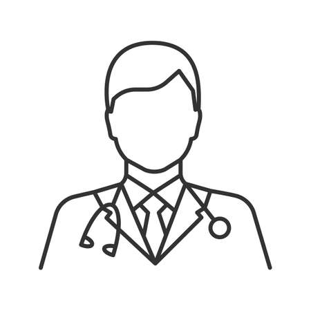 Doctor linear icon. Medical worker. Thin line illustration. Practitioner. Contour symbol. Vector isolated outline drawing