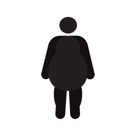 Fat man in front view silhouette icon. Obesity, overweight. Isolated vector illustration