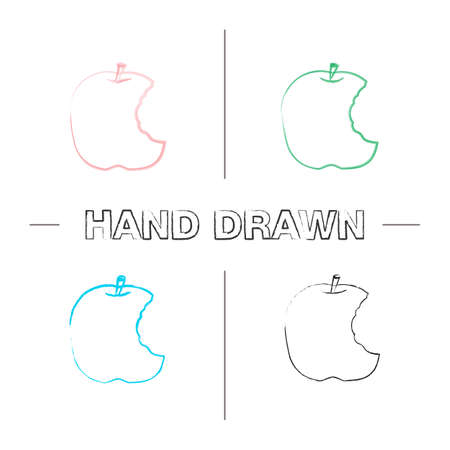 Bitten apple hand drawn icons set. Color brush stroke. Healthy teeth. Isolated vector sketchy illustrations
