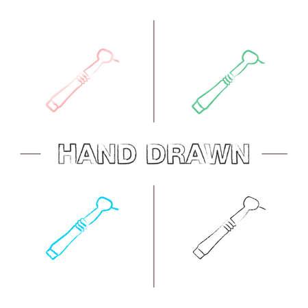 Dental drill hand drawn icons set. Dental handpiece. Color brush stroke. Isolated vector sketchy illustrations Illustration