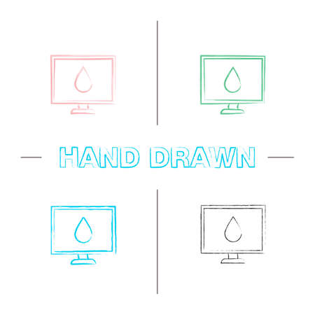 Computer display calibration hand drawn icons set. Control of color printing quality. Color brush stroke. Isolated vector sketchy illustrations