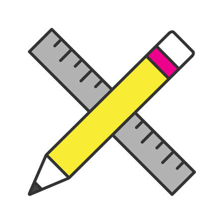Ruler and pencil color icon. Drawing and drafting tools. Isolated vector illustration