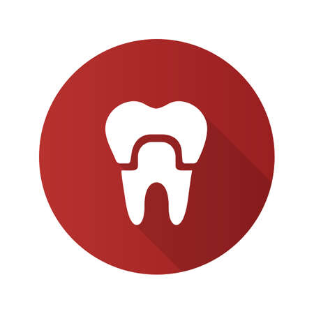 Dental crown flat design long shadow glyph icon. Tooth restoration. Vector silhouette illustration