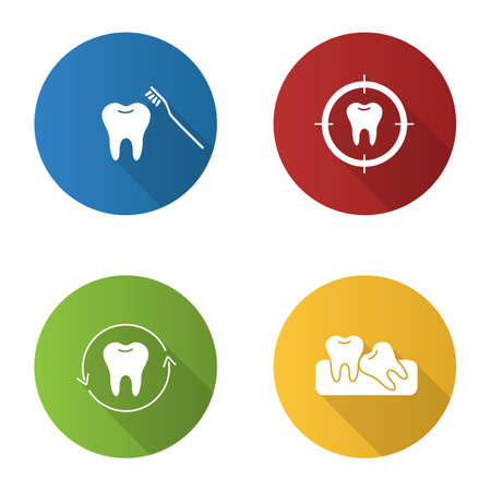 Dentistry flat design long shadow glyph icons set. Stomatology. Teeth brushing, aim on tooth, dental restoration, crooked teeth. Vector silhouette illustration