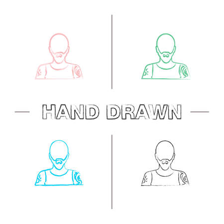 Tattoo artist hand drawn icons set. Color brush stroke. Tattooist. Man with tattooed body. Isolated vector sketchy illustrations
