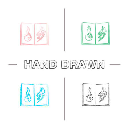 Tattoo images catalog hand drawn icons set. Color brush stroke. Tattooists portfolio. Tattoos sketch book. Isolated vector sketchy illustrations Illustration