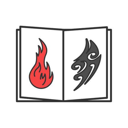 Tattoo images catalog color icon. Tattooists portfolio. Tattoos sketch book. Isolated vector illustration Illustration