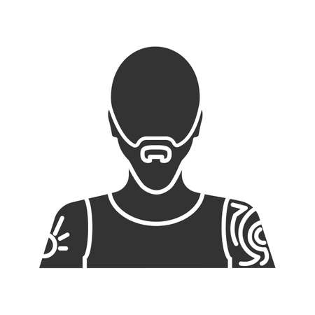 Tattoo artist glyph icon. Tattooist. Man with tattooed body. Silhouette symbol. Negative space. Vector isolated illustration