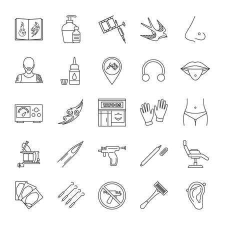 Tattoo studio linear icons set. Piercing service. Tattoo sketches, instruments and equipment. Thin line contour symbols. Isolated vector outline illustrations
