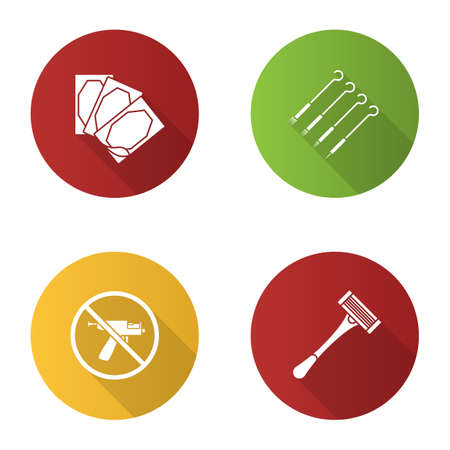 Tattoo studio flat design long shadow glyph icons set. Piercing service. Medical plaster, tattoo needles, piercing gun prohibition, razor. Vector silhouette illustration Illustration