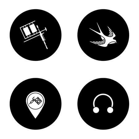 Tattoo studio glyph icons set. Piercing service. Tattoo machine, swallow sketch, studio location, half hoop earring. Vector white silhouettes illustrations in black circles Stock Vector - 103763799