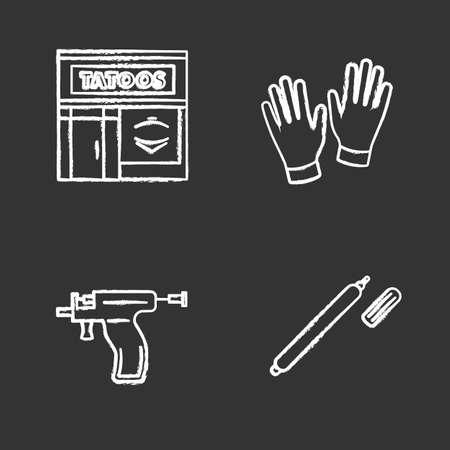 Tattoo studio chalk icons set. Piercing service. Tattoo parlour exterior, medical gloves, piercing gun, highlighter. Isolated vector chalkboard illustrations Illustration