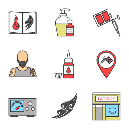 Tattoo studio color icons set. Tattoos catalog, aftercare, tattooists machine, tattooer, ink bottle and cap, studio location, power supply, sketch, parlour facade. Isolated vector illustrations
