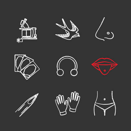 Tattoo studio chalk icons set. Tattoo machine, swallow, pierced nose and tongue, repair sticker, half hoop ring, needle tip, medical gloves, navel piercing. Isolated vector chalkboard illustrations Illustration