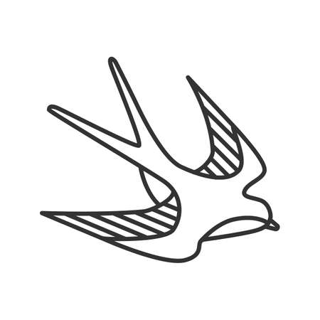 Swallow bird linear icon. Thin line illustration. Sailors tattoo sketch. Contour symbol. Vector isolated outline drawing