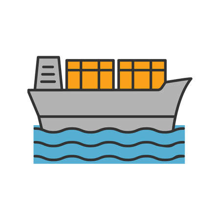 Cargo ship color icon. Tanker. Container vessel. Isolated vector illustration