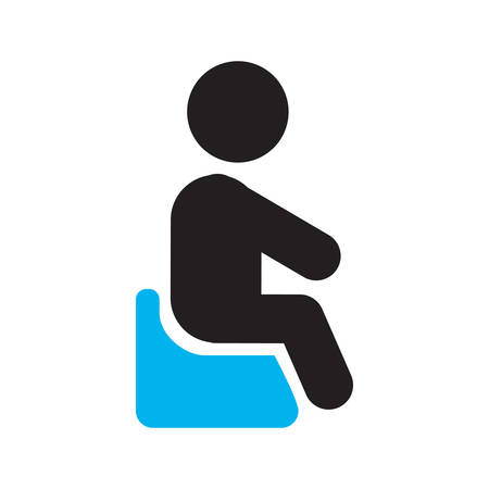 Child sitting on potty chair silhouette icon. Baby toilet. Going pee. Isolated vector illustration