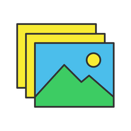 Digital images, photos color icon. Pictures. Isolated vector illustration  イラスト・ベクター素材