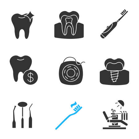 Dentistry glyph icons set. Healthy tooth, electric toothbrush, dental service prices, implant, stomatological instruments, floss, dental chair. Silhouette symbols. Vector isolated illustration Illustration