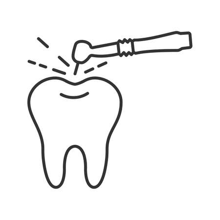 Tooth drilling process linear icon. Dentistry. Thin line illustration. Dental handpiece. Contour symbol. Vector isolated drawing