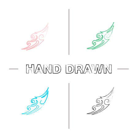 Tattoo image hand drawn icons set. Color brush stroke. Tattoo sketch. Isolated vector sketchy illustrations