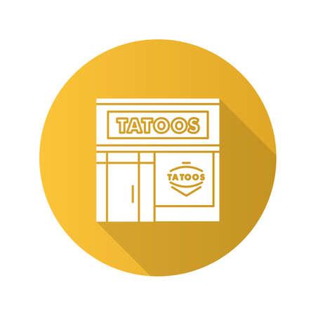 Tattoo studio facade flat design long shadow glyph icon. Tattoo parlour exterior. Vector silhouette illustration Illustration
