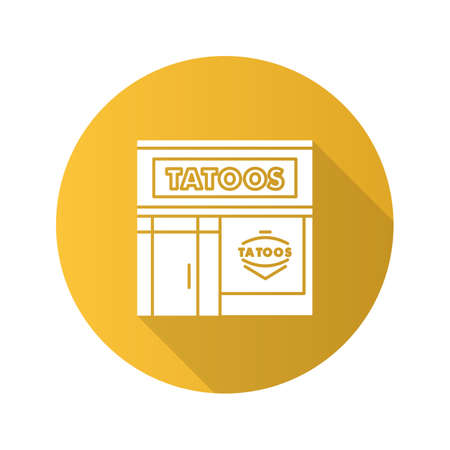 Tattoo studio facade flat design long shadow glyph icon. Tattoo parlour exterior. Vector silhouette illustration  イラスト・ベクター素材