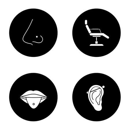 Tattoo studio glyph icons set. Piercing service. Pierced nose and tongue, tattoo chair, industrial piercing. Vector white silhouettes illustrations in black circles Illustration
