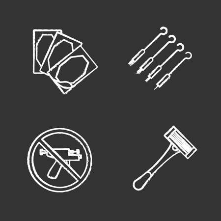 Tattoo studio chalk icons set. Piercing service. Medical plaster, tattoo needles, piercing gun prohibition, razor. Isolated vector chalkboard illustrations Illustration