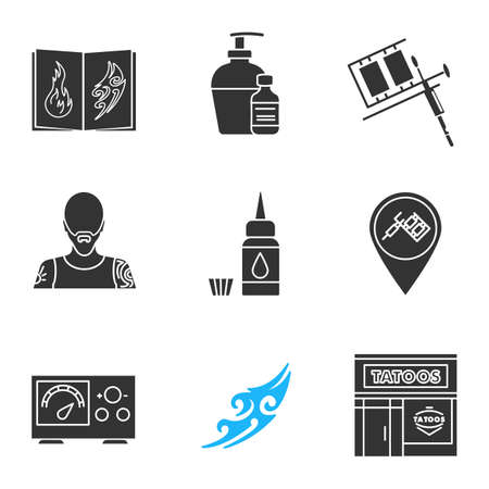 Tattoo studio glyph icons set. Tattoos catalog, aftercare, tattooist machine, tattooer, ink bottle, studio location, power supply, sketch, parlour. Silhouette symbols. Vector isolated illustration Illustration