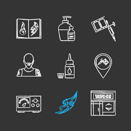 Tattoo studio chalk icons set. Tattoos catalog, aftercare, tattooist machine, tattooer, ink bottle and cap, studio location, power supply, sketch, parlour. Isolated vector chalkboard illustrations