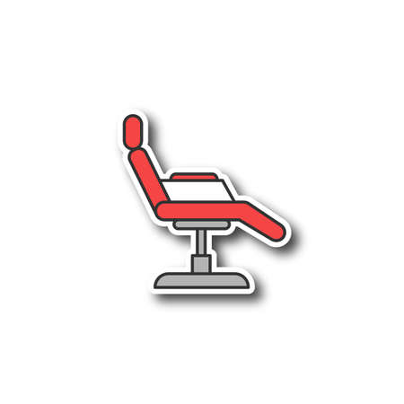 Tattoo chair patch. Color sticker. Vector isolated illustration