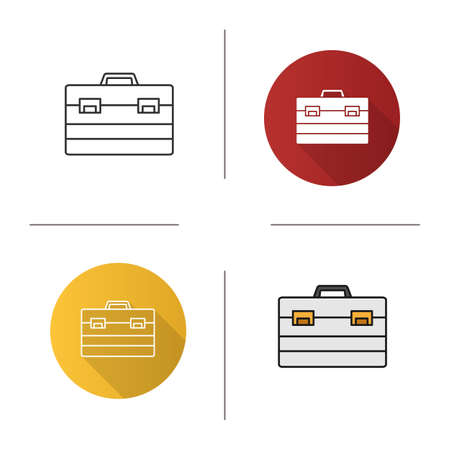 Construction toolbox icon. Flat design, linear and color styles. Toolbag. Isolated vector illustrations