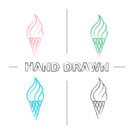 Ice cream cone hand drawn icons set. Color brush stroke. Isolated vector sketchy illustrations