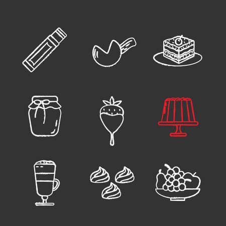 Confectionery chalk icons set. Chewing gum stick, fortune cookie, tiramisu, berry jam, strawberry in chocolate, pudding, coffee, meringues, fruit. Isolated vector chalkboard illustrations