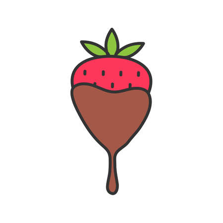 Chocolate covered strawberry color icon. Isolated vector illustration