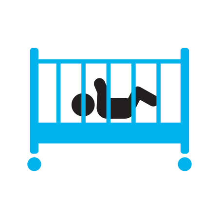 Child sleeping in crib silhouette icon. Baby bed. Cradle. Isolated vector illustration