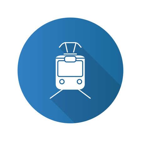Tram flat design long shadow glyph icon. Tramcar, streetcar. Trolley car. Vector silhouette illustration