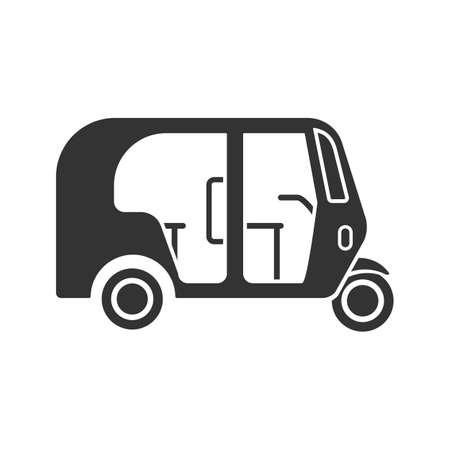Auto rickshaw glyph icon. Tuk tuk. Silhouette symbol. Negative space. Vector isolated illustration