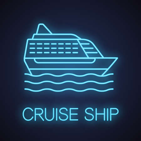 Cruise ship neon light icon. Ocean liner. Glowing sign. Vector isolated illustration