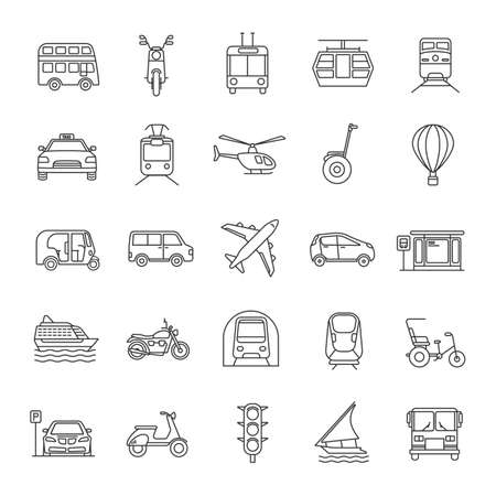 Public transport linear icons set. Thin line contour symbols. Water, land and air vehicles. Modes of transport. Isolated vector outline illustrations Ilustração