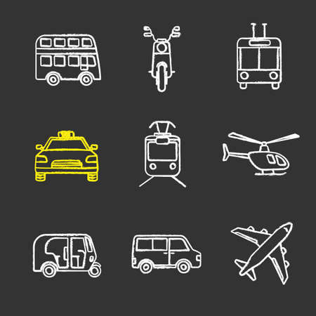 Public transport chalk icons set. Modes of transport. Double decker bus, scooter, trolleybus, taxi, tram, helicopter, auto rickshaw, minivan, airplane. Isolated vector chalkboard illustrations